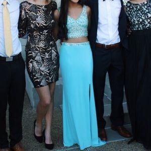 Long 'blush prom' (brand) two piece formal dress